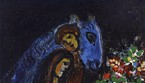 Marc Chagall Gli innamorati con lasino blu,1955 ca. Olio su tela, 30x27 cm Private Collection, Swiss  Chagall, by SIAE 2019 (ANSA)