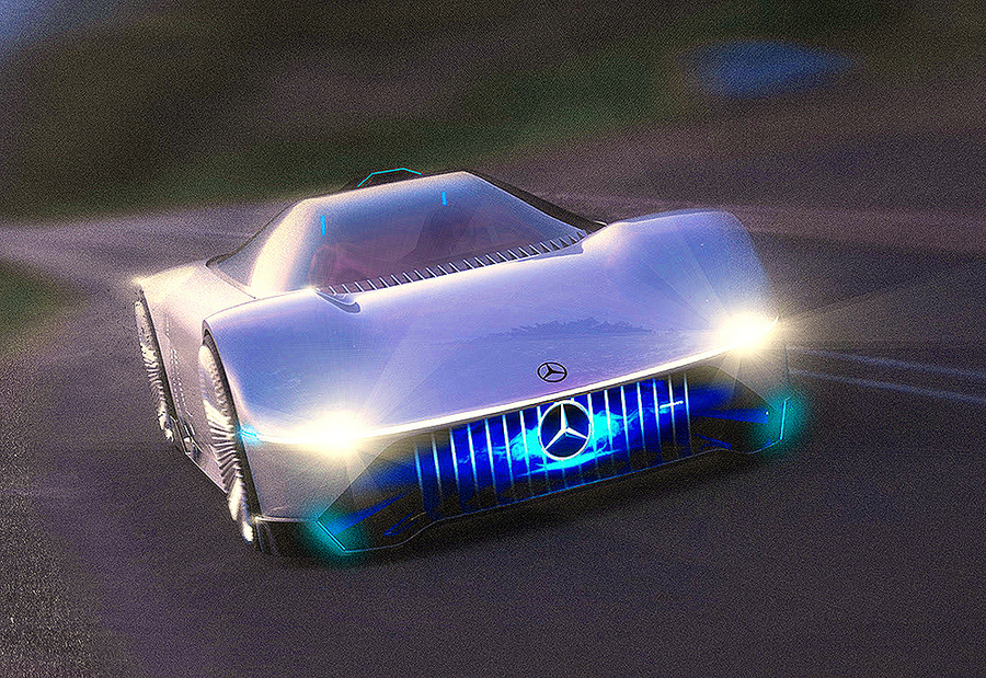 AMG EVision elettriche, linee pulite ispirate a C111 e tanti display ©